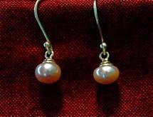 cultured pink pearl earrings $20