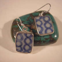 Antique Chinese porcelain, broken shards shaped and set into sterling    $36