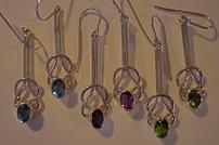 sterling loop earrings, available with amethyst, garnet, peridot, blue topaz $36