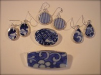 unique jewelry created from shards of antique Chinese porcelain, available as earrings, pendants and pins from $30 to $60